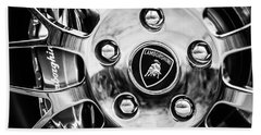 Beach Towel featuring the photograph 1997 Lamborghini Diablo Roadster  Wheel Emblem -1303bw by Jill Reger