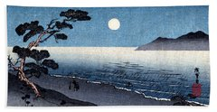 19th C. Moonlit Japanese Beach Beach Sheet