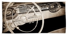 1956 Oldsmobile Starfire 98 Steering Wheel And Dashboard Beach Towel