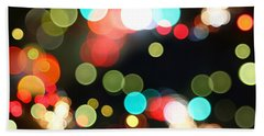 Abstract Colorful Round Bokeh Lights Beach Towel