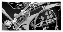 Ac Shelby Cobra Engine - Steering Wheel Beach Sheet by Jill Reger