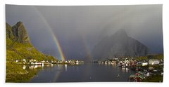 Beach Towel featuring the photograph After The Rain In Reine by Heiko Koehrer-Wagner