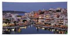 Agios Nikolaos City During Dusk Time Beach Towel
