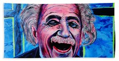Beach Sheet featuring the painting Albert Einstein by Viktor Lazarev