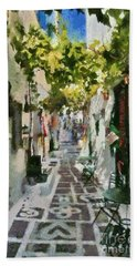 Alley In Ios Town Beach Towel