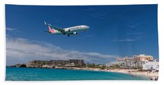 American Airlines At St Maarten Beach Towel by David Gleeson
