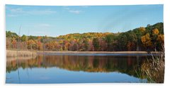 Beach Towel featuring the photograph Autumn Pond by Aimee L Maher Photography and Art Visit ALMGallerydotcom