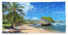 Bathsheba Beach In Barbados Beach Towel by Verena Matthew