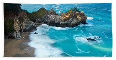 Beautiful Mcway Falls Along The Big Sur Coast. Beach Towel