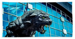 Black Panther Statue Beach Towel by Alex Grichenko