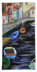 Beach Towel featuring the painting Boats In Front Of The Buildings IIi by Xueling Zou