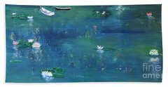 2 Boats In The Lily Pond Beach Towel by Gary Smith