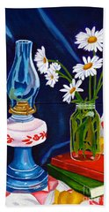 Beach Towel featuring the painting 2 Books And A Lamp by Laura Forde