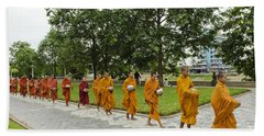 Buddhist Monks In Battambang Cambodia Beach Towel