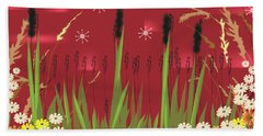 Beach Towel featuring the digital art Cattails by Kim Prowse