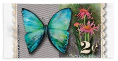 2 Cent Butterfly Stamp Beach Towel