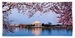 Cherry Blossom Tree With A Memorial Beach Sheet by Panoramic Images