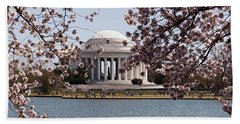Cherry Blossom Trees In The Tidal Basin Beach Towel by Panoramic Images