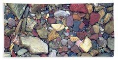 Colorful Lake Rocks Beach Sheet by Kerri Mortenson