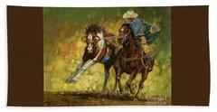 Rodeo Pickup Beach Sheet by Don  Langeneckert