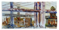 Beach Towel featuring the painting Downtown Bridge by Xueling Zou