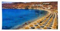Elia Beach In Mykonos Island Beach Towel