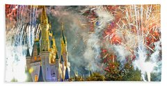 Fireworks Cinderellas Castle Walt Disney World Beach Sheet