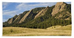 Flatirons With Golden Grass Boulder Colorado Beach Towel