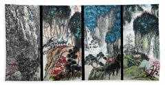 Four Seasons In Harmony Beach Towel by Yufeng Wang