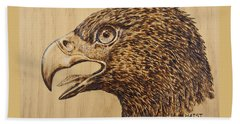Beach Sheet featuring the pyrography Golden Eagle by Ron Haist