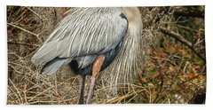 Great Blue Heron Beach Sheet by Jane Luxton