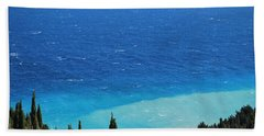 green and blue Erikousa Beach Towel by George Katechis
