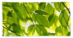 Green Spring Leaves Beach Towel