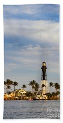Hillsboro Inlet Lighthouse Beach Towel by Les Palenik