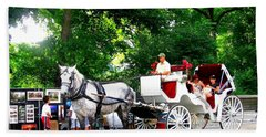 Horse And Carriage In Central Park Beach Sheet