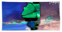 Illinois Map Watercolor Beach Towel by Marvin Blaine