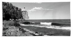 Lighthouse On A Cliff, Split Rock Beach Towel