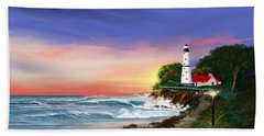 Lighthouse On The Cliff Beach Sheet by Anthony Fishburne