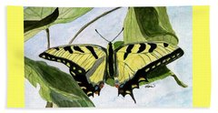 Beach Sheet featuring the painting Male Eastern Tiger Swallowtail by Angela Davies