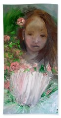 Beach Towel featuring the painting Mary Rosa by Laurie Lundquist