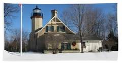 Mcgulpin Point Lighthouse In Winter Beach Sheet