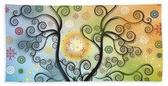 Beach Towel featuring the digital art Moon Swirl Tree by Kim Prowse