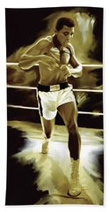 Muhammad Ali Boxing Artwork Beach Towel by Sheraz A