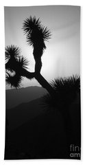 New Photographic Art Print For Sale Joshua Tree At Sunset Black And White Beach Towel