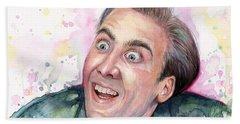 Nicolas Cage You Don't Say Watercolor Portrait Beach Towel