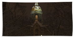 Notre Dame Golden Dome Snow Beach Towel by John Stephens