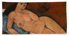 Nude On A Blue Cushion Beach Towel