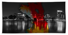 Oakland Map And Skyline Watercolor Beach Towel