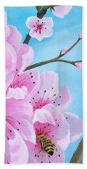 #2 Of Diptych Peach Tree In Bloom Beach Sheet