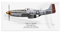Old Crow P-51 Mustang - White Background Beach Towel